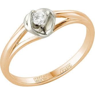 Кольцо с 1 бриллиантом из красного золота