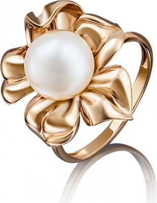 цена на Кольцо Цветок с жемчугом из красного золота