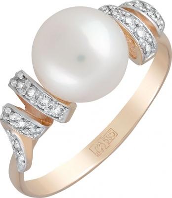 Кольцо с фианитами, жемчугом из красного золота недорого