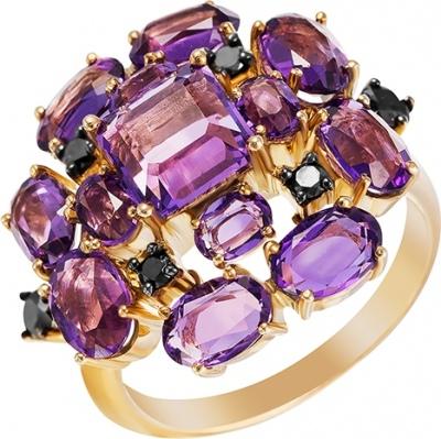 Кольцо с бриллиантами, аметистами из желтого золота
