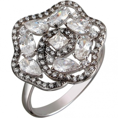 Кольцо с фианитами из чернёного серебра кольцо с 12 фианитами из чернёного серебра
